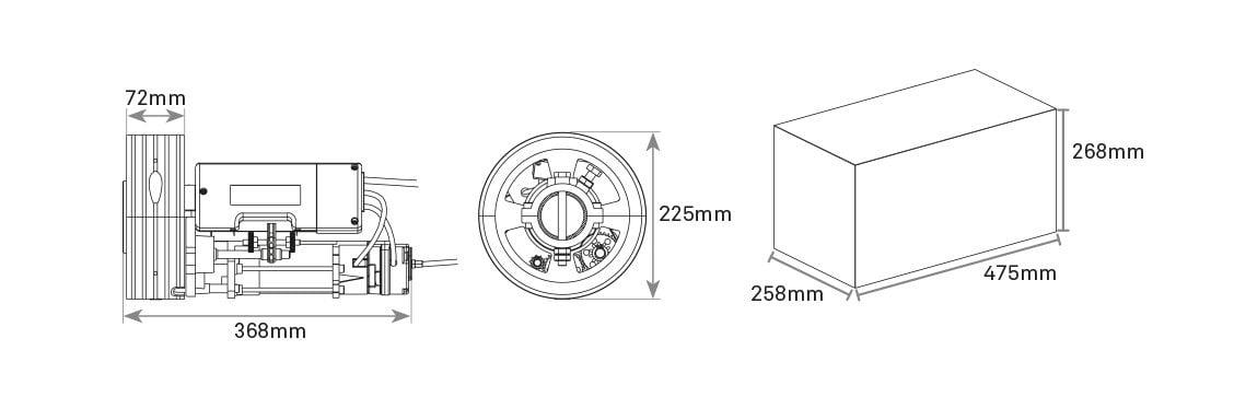 Διαστάσεις κεντρικού μοτέρ ρολού Rolling 160SP